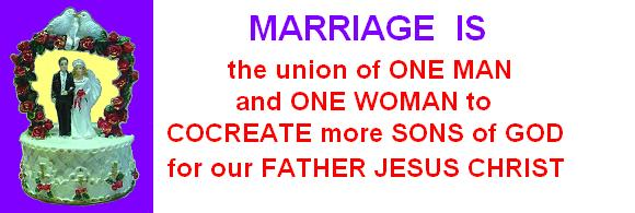 Marriage is the Union of one Man and one Woman, united to cocreate more Sons of God for our Father Jesus Christ